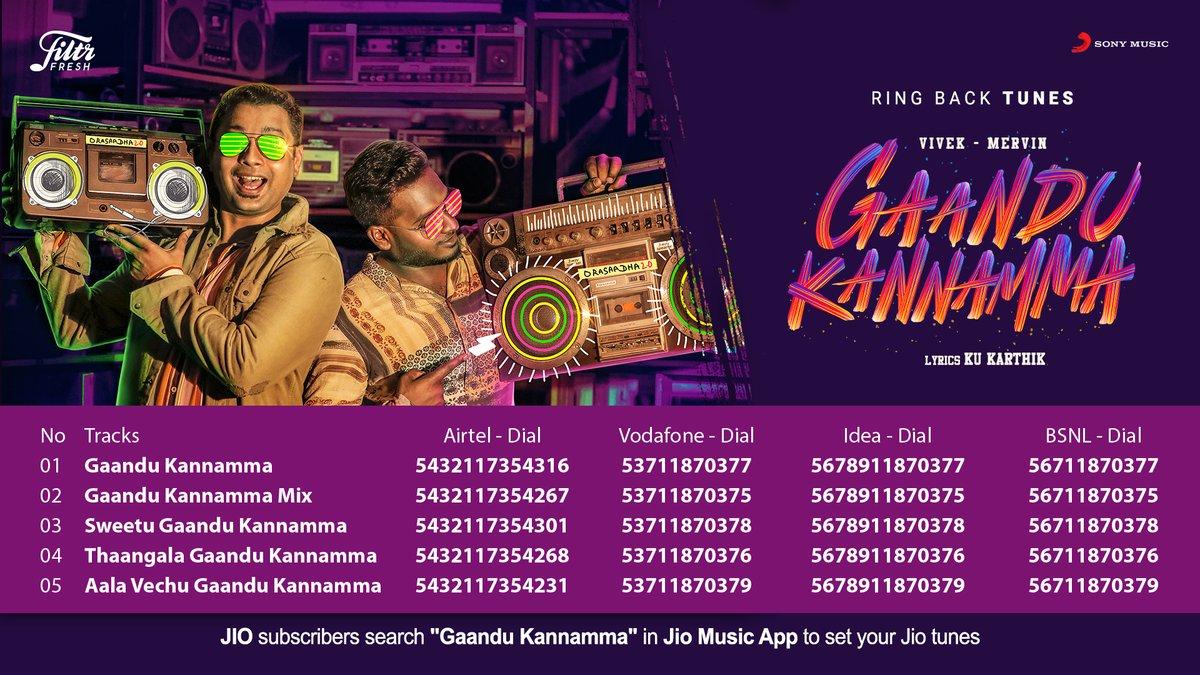 Now you can set @iamviveksiva - @MervinJSolomon's #GaanduKannamma as your ring-back tune!💞💯  ➡️   @KuKarthk @amithkrishnan85 @PawanAlex @balaji_u @JafferJiky