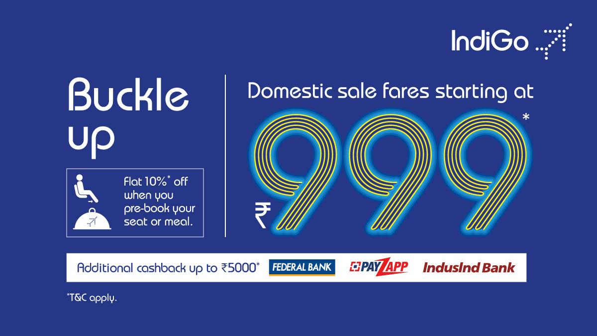 It's SALE o'clock! Grab the offer before it changes! Book now  #letsindigo #Sale #travel