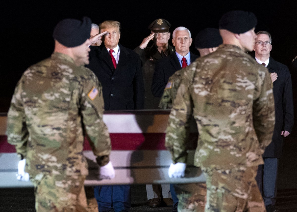 .@realDonaldTrump  and @VP  Pence look on during a Dignified Transfer at Dover Air Force Base, Delaware for two US Soldiers who killed during a US-Afgan operation in the Nangarhar province in easter Afghanistan.