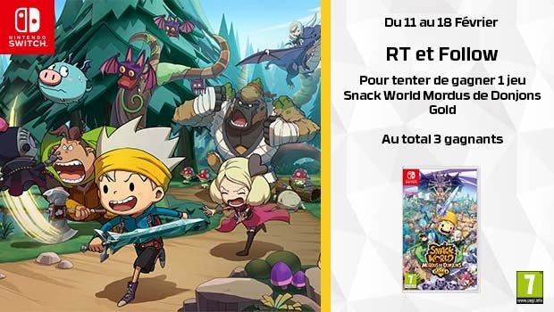 #Concours 🔥 Tentez de remporter 1 jeu Snack World Mordus de Donjons - Gold compatible Nintendo Switch. Au total 3 gagnants. Pour participer, il faut : ✔️Follow @HypergamesA ✔️RT le tweet TAS le 18/02 Voir conditions : 👉