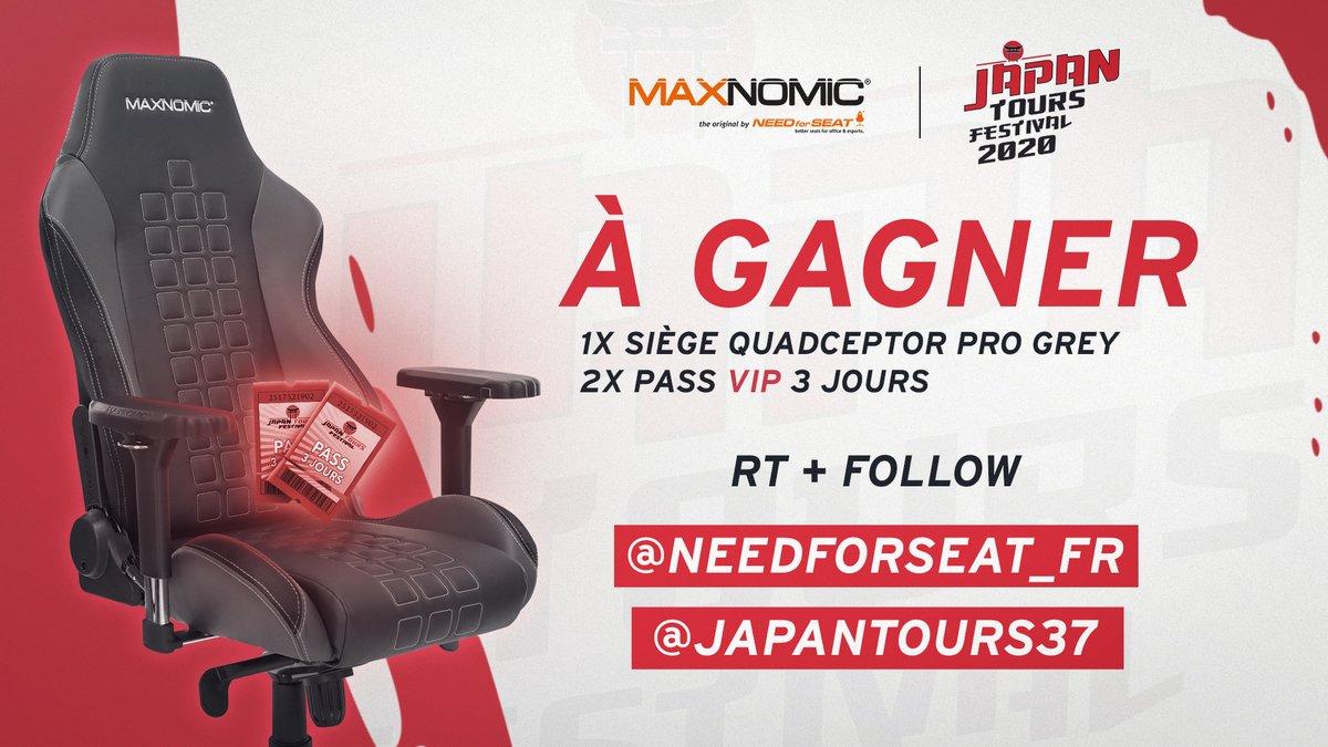 #GIVEAWAY 🎁  Avec notre partenaire @JapanTours37 on vous fait gagner 1 siège #MAXNOMIC et 2 Pass VIP pour l'événement ! 🔥  Pour participer, c'est simple ➡️ RT & FOLLOW ⬅️
