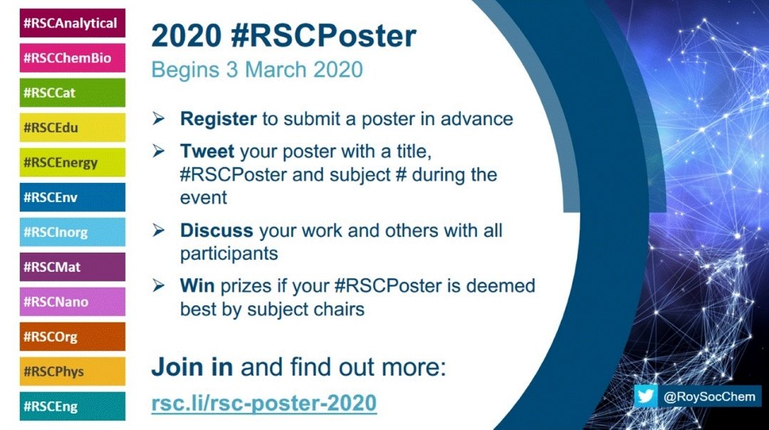 The @RoySocChem #RSCposter  conference is coming up 🚨  This is a super fun & free opportunity to interact with chemists across the globe. You just need your poster and  hashtags!  #ChemTwitter is going crazy for 24h, don't miss it 🌍🌎🌏  #RealTimeChem