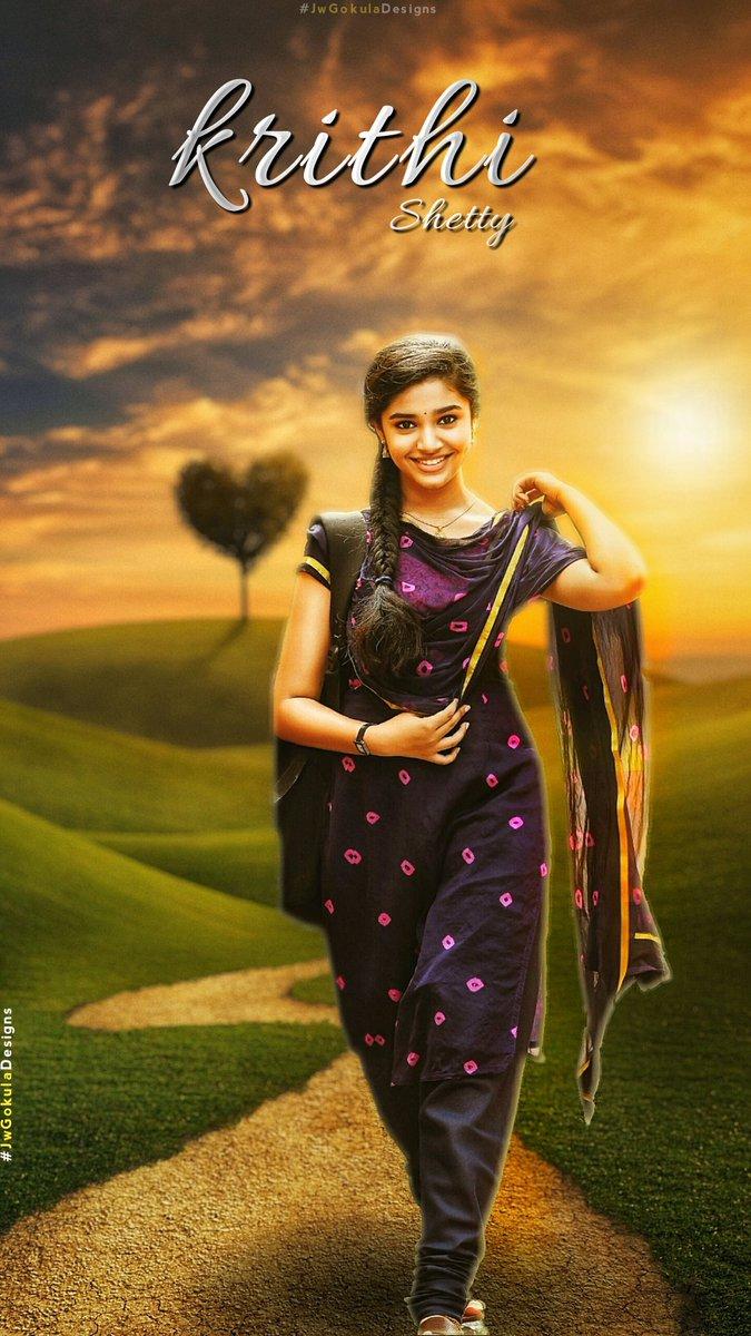 Here is Design for New Actress @IamKrithiShetty   Chudagane nachesindi ento.. Cute and so gorgeous Actress😘  #UppenaOnApril2nd ❤ #PanjaVaisshnavTej @IamKrithiShetty   Hope u 👍 #KrithiShetty #JwGokuladesigns @JwGokula9999