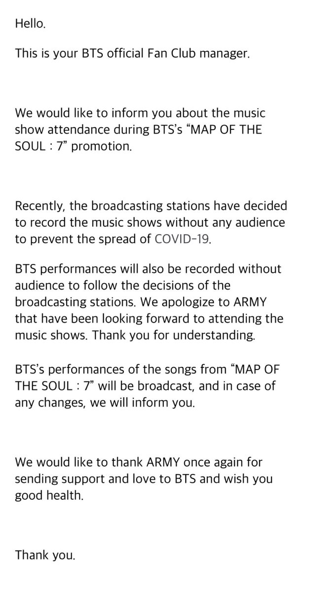 Bighit stated today, recently in Korea, TV music shows are recorderd without audiences to prevent spread of COVID-19 (coronavirus), @BTS_twt performances for MOTS:7 will also be without audiences.  🗓2/27 6pm Mnet Mcountdown 🗓2/28 5pm KBS Music Bank 🗓3/1 3:50pm SBS Inki Gayo