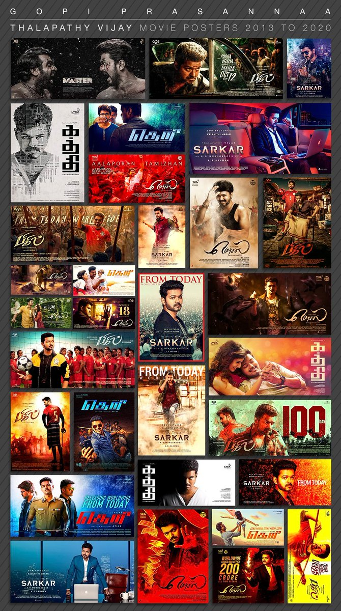 Official Posters Of #Kaththi, #Theri, #Mersal, #Sarkar, #Bigil And #Master Designed By @gopiprasannaa! 💥