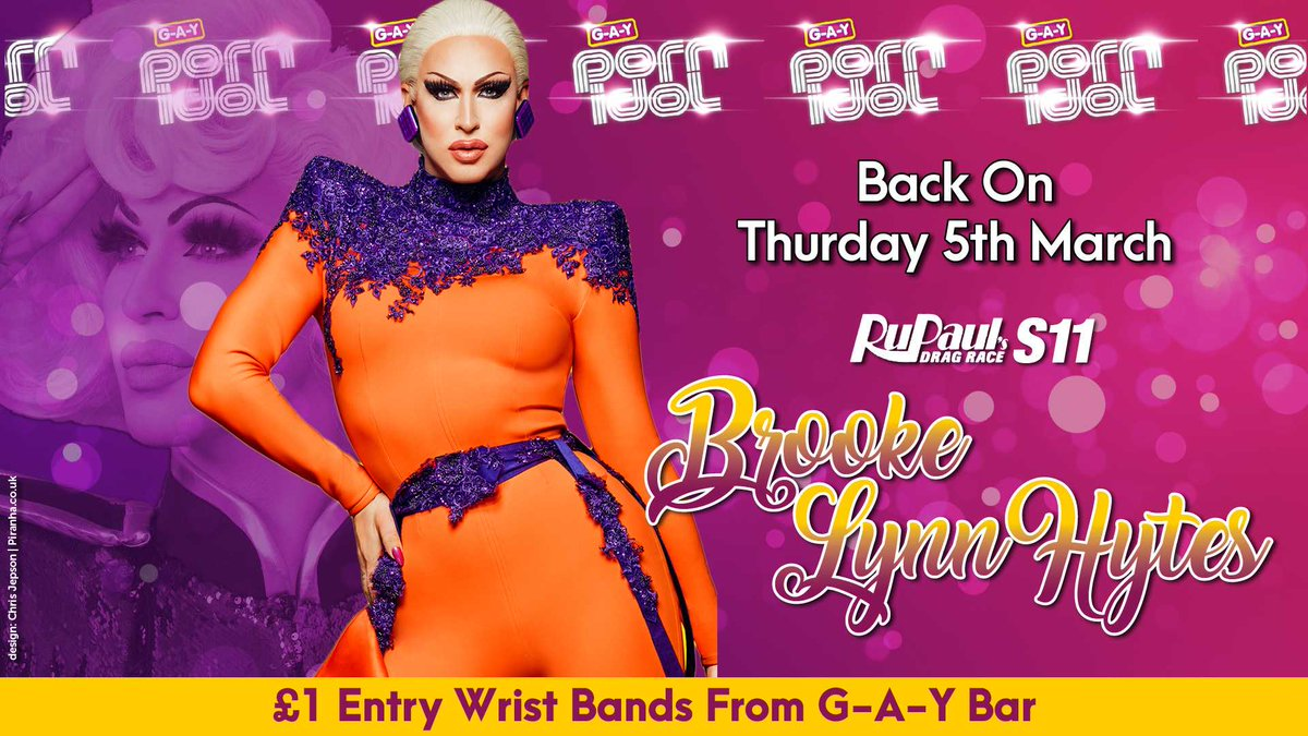 NEXT THURSDAY  G-A-Y Porn Idol Is Back  With  @RuPaulsDragRace S11 Runner Up  @Bhytes1   Death Drops Terrify Her  Sooooooo, To Strip & Death Drop Naked  Msg 07789 553 868 or info@g-a-y.co.uk  Win £500, £100 or £0   Get £1 Entry Wrist Bands From G-A-Y Bar  #DragRace