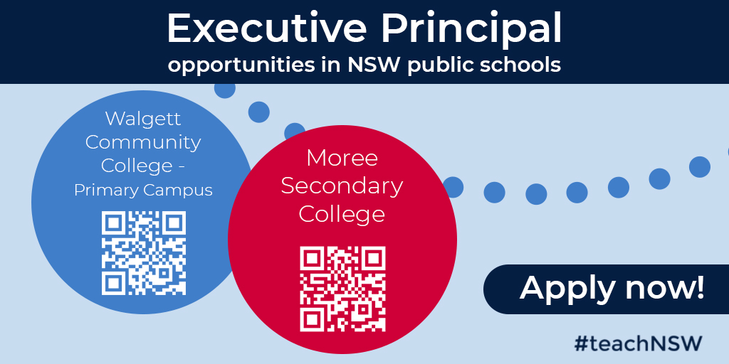 Did you see this week's edition of JobFeed? We advertised two exciting Executive Principal roles in Moree and Walgett. Find out more and apply at: https://t.co/7sq2NQZPlB. #teachNSW #JobFeed #GoingPlaces https://t.co/GUM7BAEjuE