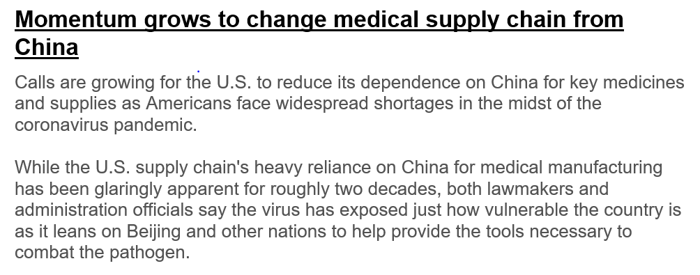 From @thehill An example of why greater de-globalization will feature in the post crisis economic/corporate landscape Resilience and national security will reverse prior inclinations favoring seemingly more cost effective global supply chains and just in time inventory management