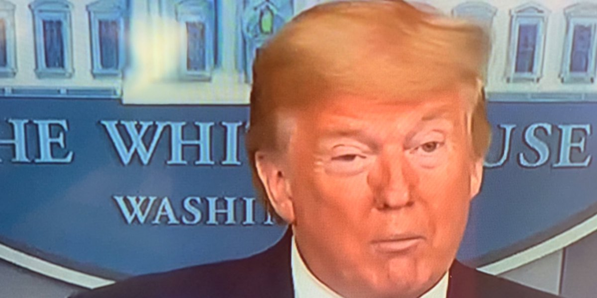 This is Trump at the Press Briefing. What is on the sides of his nose?