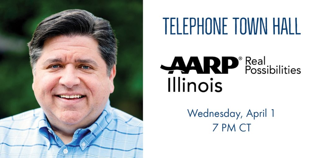 Join us this Wednesday at 7 p.m. for a live Tele-Town Hall with @GovPritzker and @IDPH director Dr. Ngozi Ezike. Hear about available resources, ask questions and share your concerns regarding #COVID19. Register at  or listen on our Facebook live stream.