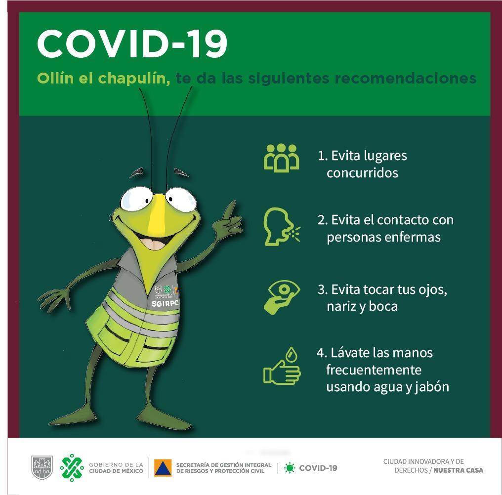 #Ollín, el Chapulín de la Prevención, te invita a seguir estas recomendaciones para reducir la transmisión de #COVID19   Si presentas síntomas, envía un SMS con la palabra COVID19 al 51515.   #QuedateEnCasaYa