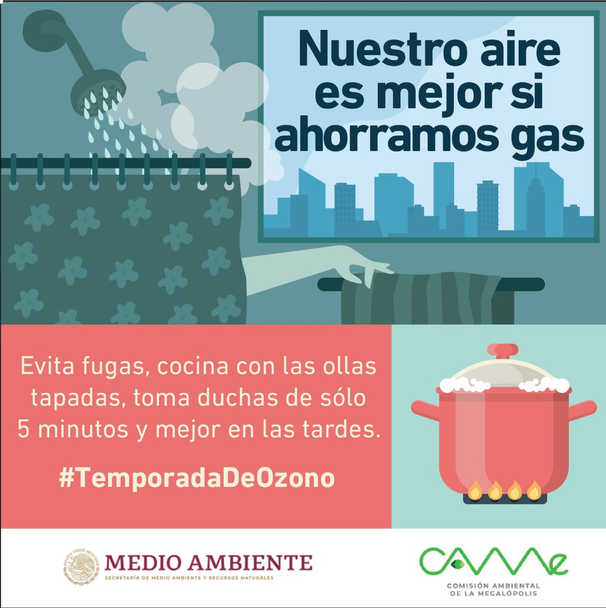Durante la #TemporadaDeOzono, nuestro aire es mejor si ahorramos gas en casa. #QuédateEnCasa