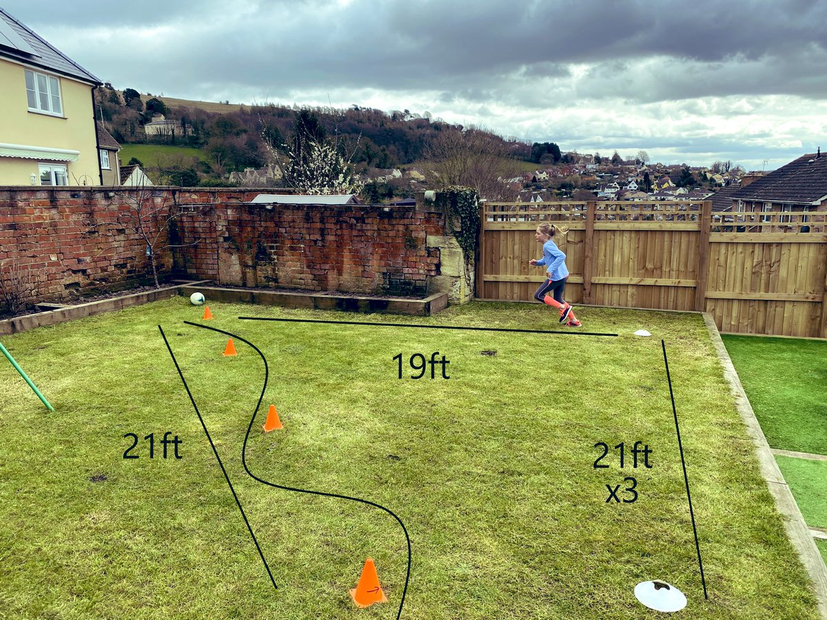 Inspired by @jcampbell0104 my daughter Amelia(9) and I will run half a marathon each in the garden by relay with rest inbetween. The start/end of each lap we'll dribble through 4 cones with a footy. 1000 retweets and we'll do it and raise funds 4 @NHSuk   @VincoSport  @Lionesses