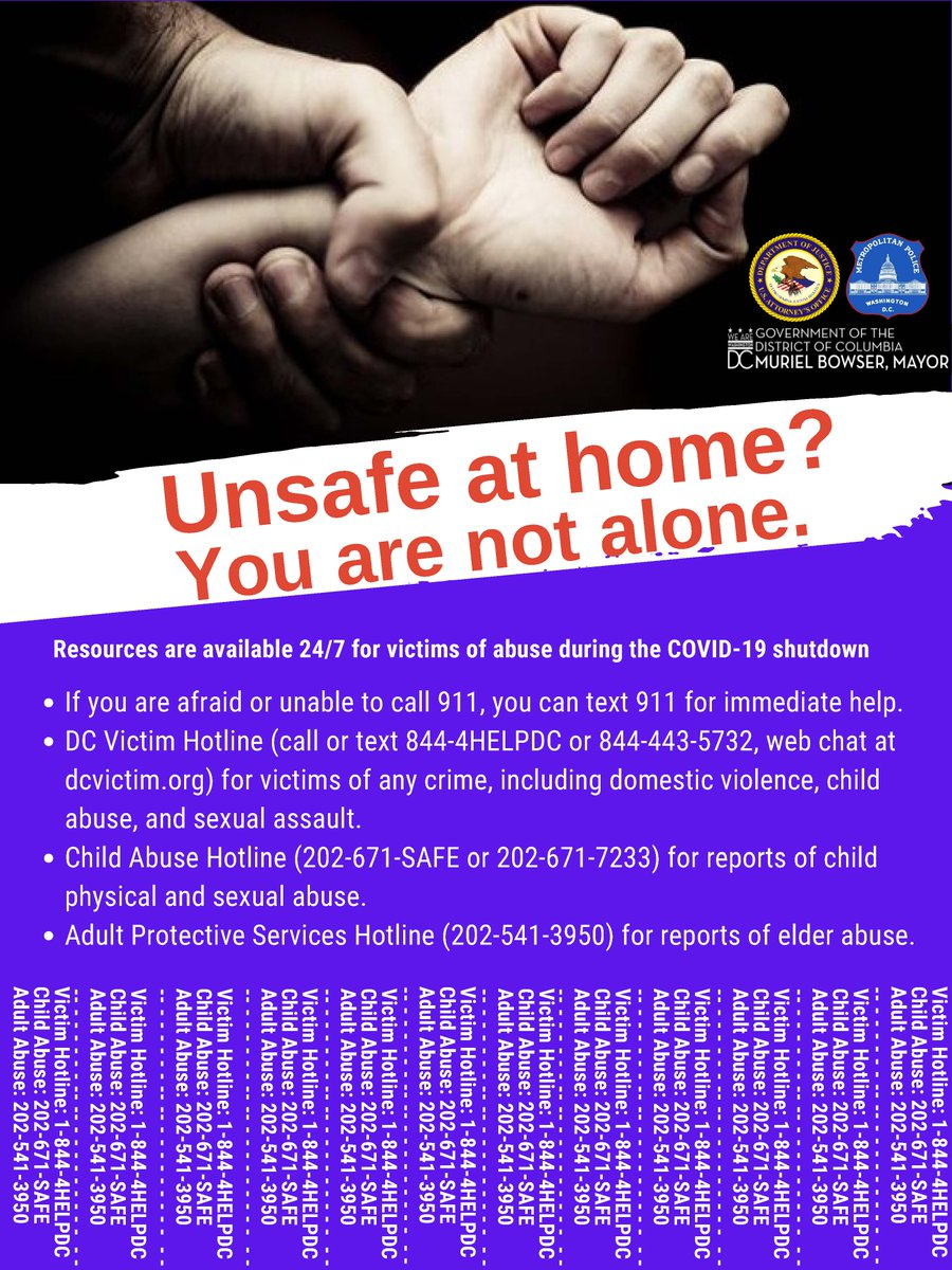 During these unprecedented times, we want everyone in our community to know that resources are still available to help keep them safe in their own homes.  If you or someone you know needs help, please reach out to these hotlines. If you need immediate help, call or text 911.