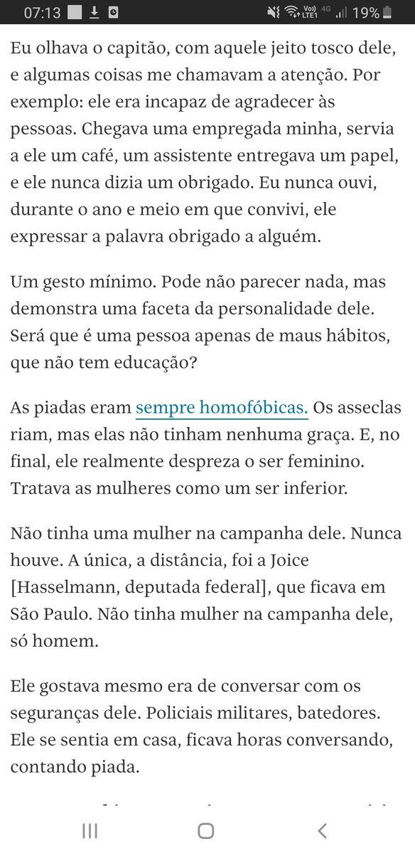 """Um dos trechos mais reveladores da entrevista na Folha com o Paulo Marinho é quando ele diz que Bolsonaro nunca diz """"obrigado"""" a quem lhe serve café"""