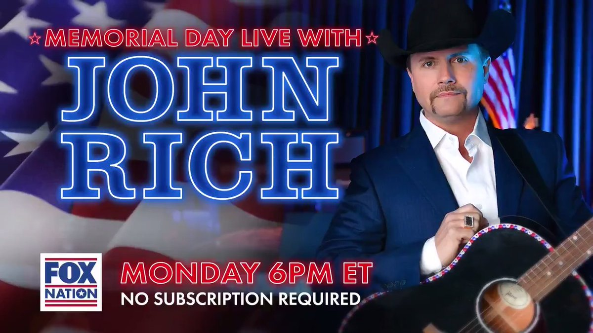 .@johnrich will salute the men and women who have fallen in defense of freedom in a special Fox Nation concert this Memorial Day. Watch live on Monday, May 25th starting at 6p ET. #GratefulNation #AmericaTogether