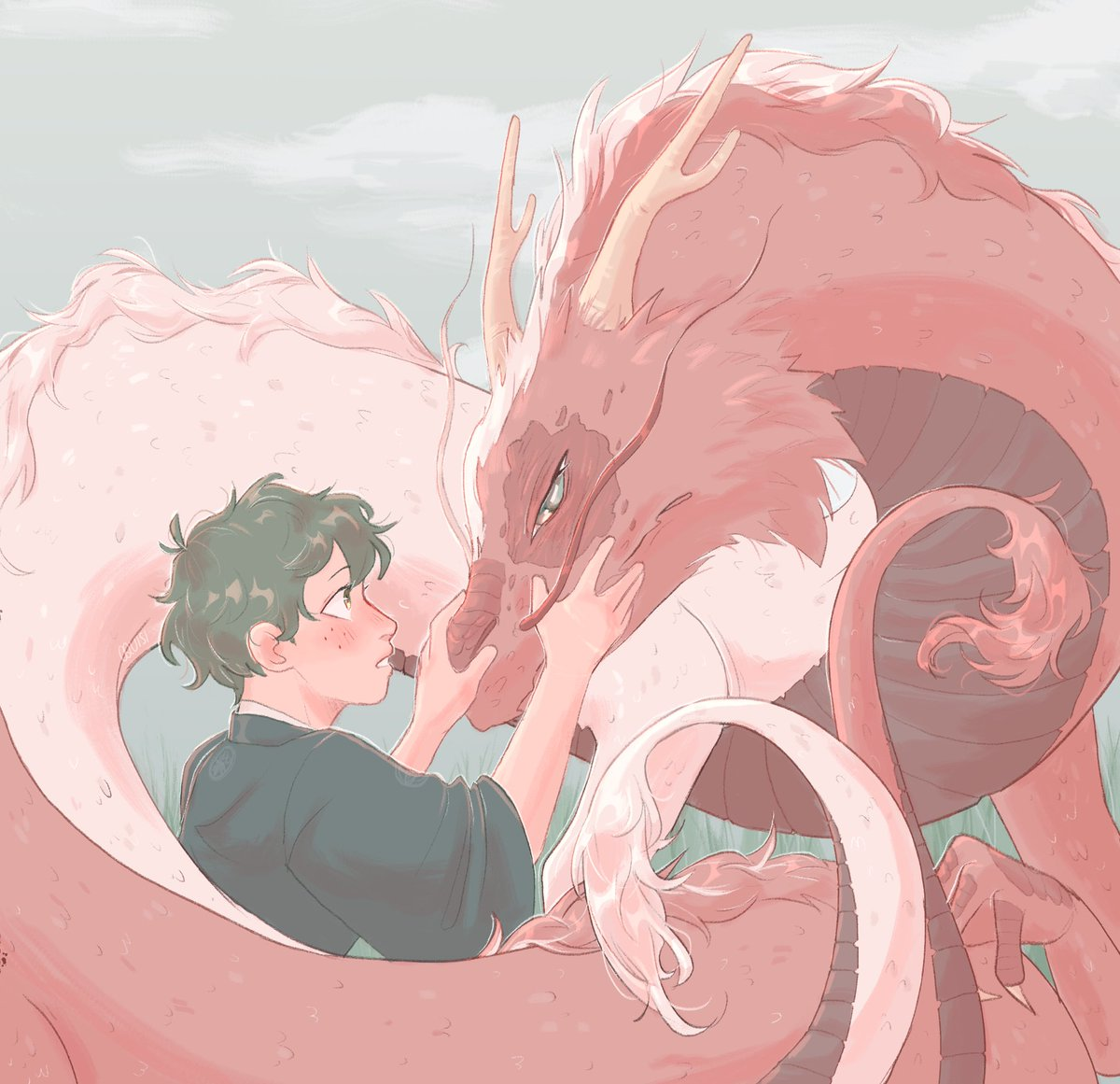 """Who are you?""   after I did that dtiys I wanted to draw more dragons so,, dragon Shouto!! #bnha #deku #todoroki #tododeku #dragontodoroki"