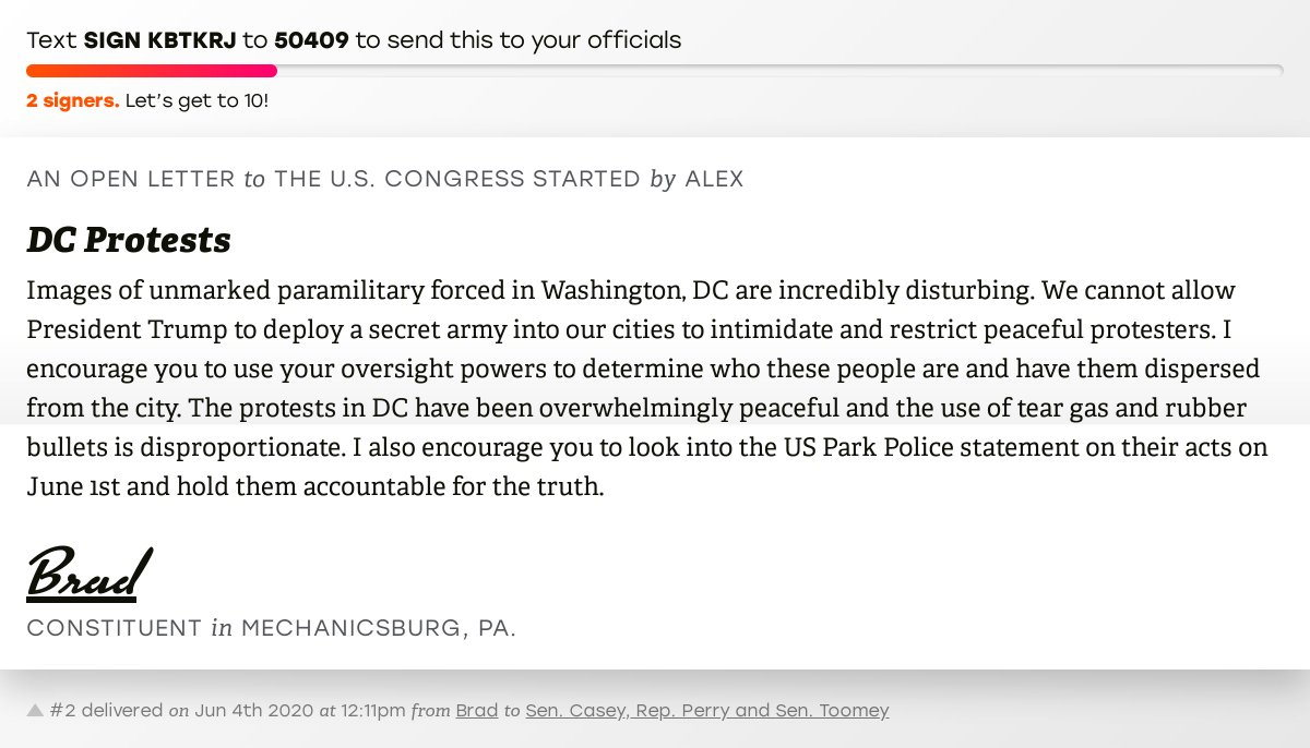 """🖋 Sign """"DC Protests"""" and I'll deliver a copy to your officials:   📨 Last delivered from Brad to @SenBobCasey, @RepScottPerry and @SenToomey #PA10 #PApol"""