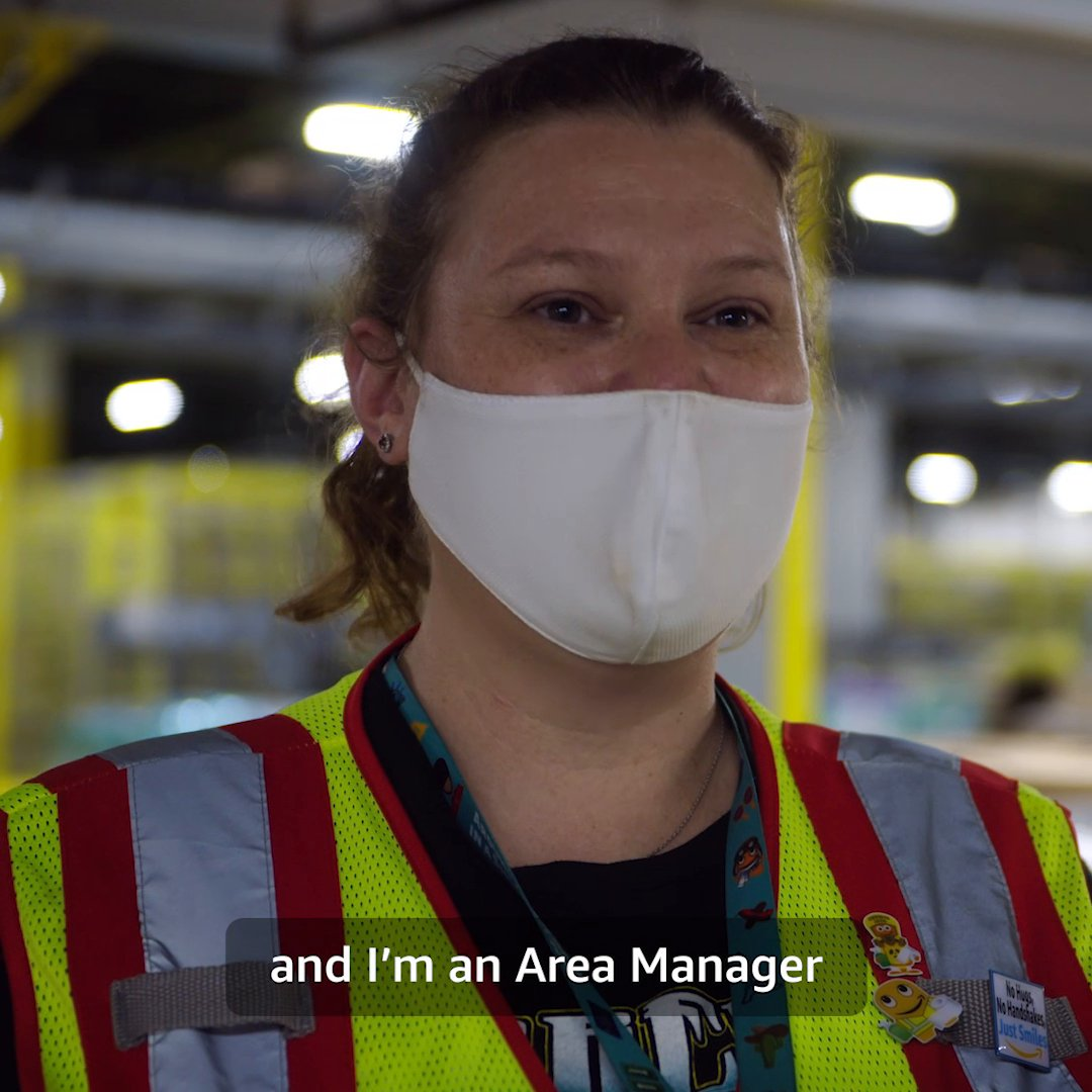 Janelle's a proud Area Manager and even prouder mom. She knows how important staying safe for your family is and has been taking care of her work family too—shipping millions of masks to teams across our network. See more Amazon stories on our blog.