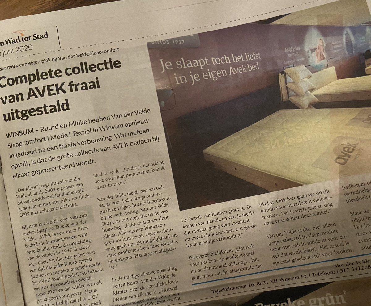 test Twitter Media - Net voor bedtijd nog even de @vanwadtotstad uit de brievenbus gehaald. Met daarin aandacht voor de 'kroon' op onze verbouwing; onze vernieuwde Avek Shop. Een mooi artikel van Sybe Joostema💪🏼 https://t.co/zRCTgEaMgG