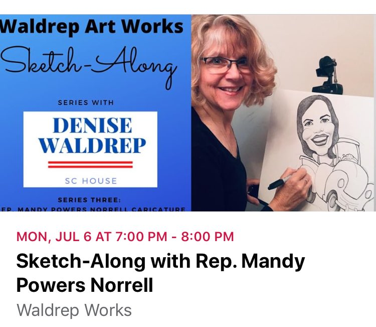 "The fabulous Rep. Mandy Powers Norell ⁦@MPowersNorrell⁩  will be our guest for my 3rd Sketch Along drawing demo. Join us via Zoom for a caricature drawing lesson followed by Q&A w/ Rep. Norrell! Click ""Going"" on my Waldrep Works Campaign page on Facebook to join in the fun!"