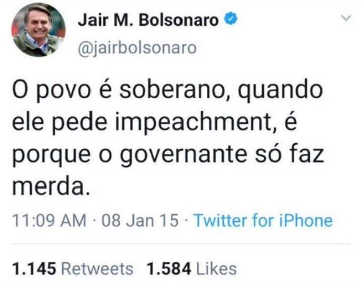 Único tweet que concordo com o Bolsonaro, queremos o impeachment  Fora Bolsonaro