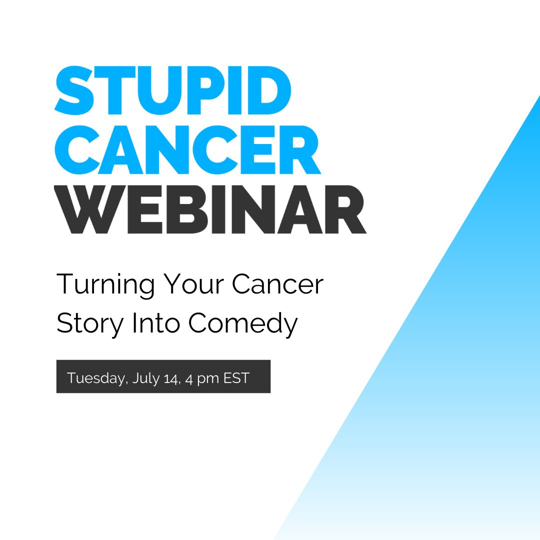 WEBINAR ALERT!   Join us and @LacunaLoft on Tuesday, July 14 at 4 pm EST as we work on turning your cancer story into comedy. As you know, AYAs love a well-placed cancer joke.  Register now:
