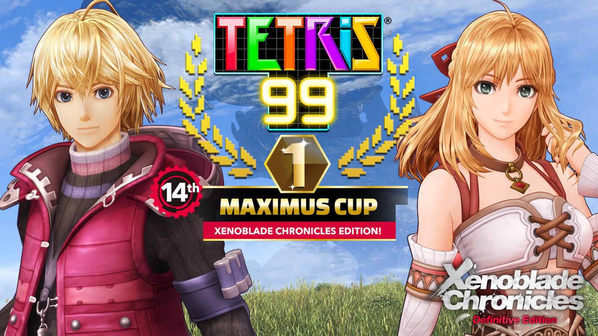 Prove you're really feeling it with the #Tetris99 14th MAXIMUS CUP, featuring #XenobladeChronicles: Definitive Edition! Earn at least 100 event points in the Tetris 99 mode from 7/3, 12am PT to 7/6, 11:59pm PT to unlock the Tetris 99 theme! @tetris_official