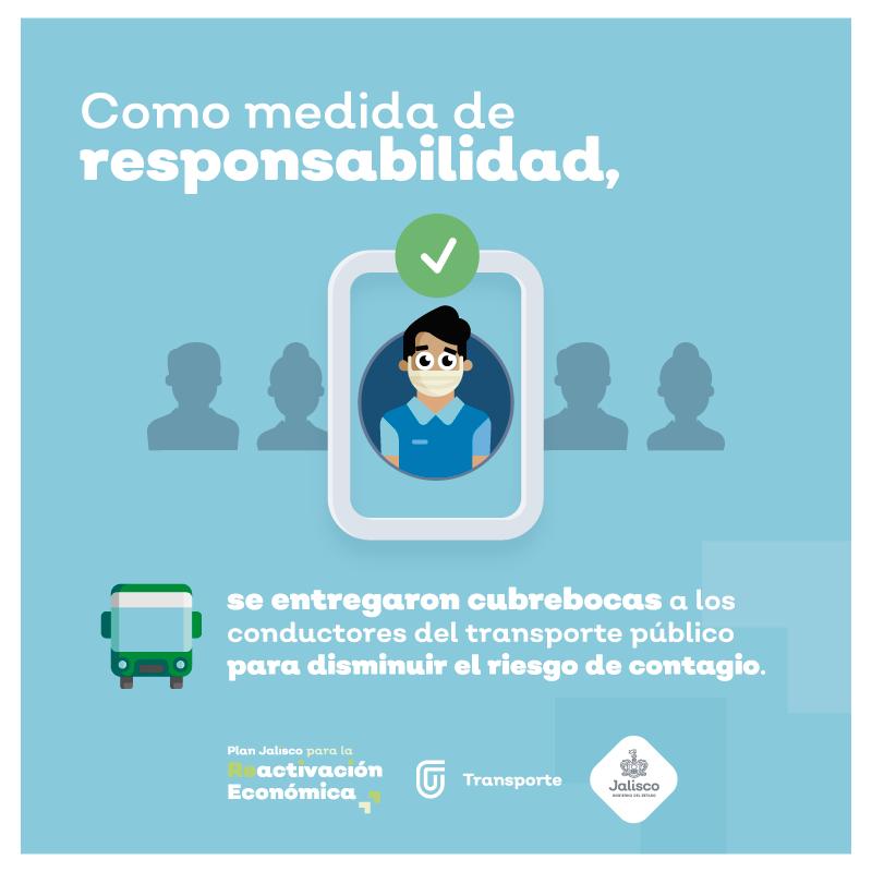 La responsabilidad es de todos; por eso continuamos con la entrega de cubrebocas a conductores de transporte público para evitar la propagación del COVID-19.