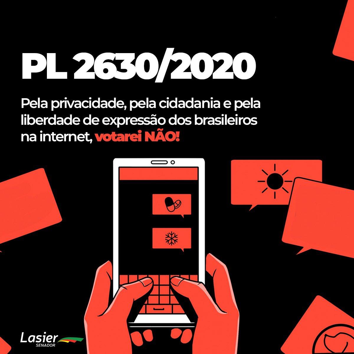 Está na pauta do plenário do Senado desta tarde o PL 2630/2020. Sem ter sido bem discutido, o texto interfere na rotina e os direitos de 170 milhões de brasileiros que usam a internet diariamente. A sociedade precisa ser ouvida. Se continuar pautado, votarei NÃO.