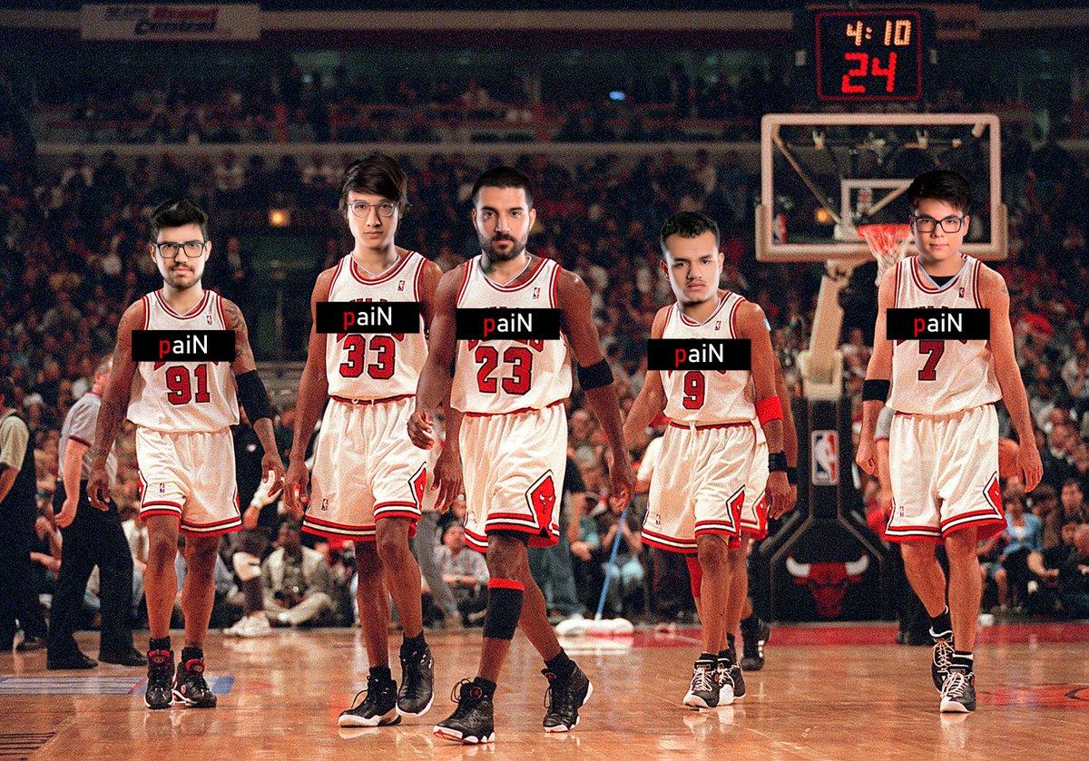 porq a @paiNGamingBR é igual o melhor quinteto do Chicago Bulls em 1996  @paiNGamingBR @brttOficial @robolol1 @Tinowns @Carioklol @esACarry #gopaiN #dinastia #CBLOL  SEGUE O FIO +++