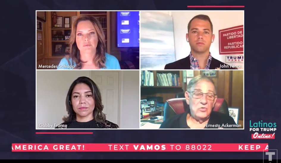 Tonight's Trump campaign livestream in Spanish features @mercedesschlapp, @jepence, @GabbyFrancoTS4 and @AckermanErnesto