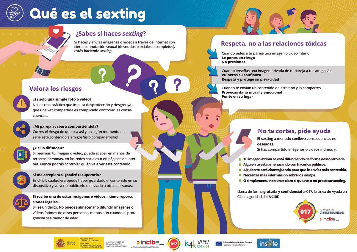 ¿Sabes si haces #sexting? Si haces y envías imágenes o vídeos a través de #Internet con cierta connotación sexual (desnudos parciales o completos), estás haciendo sexting. Conoce los riesgos de esta práctica con la ayuda de @is4k.  👉 Descarga en