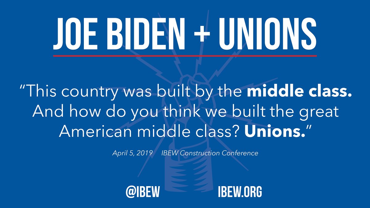 Here's why the #IBEW supports @JoeBiden for president. He gets that unions made the American middle class. Trump doesn't.