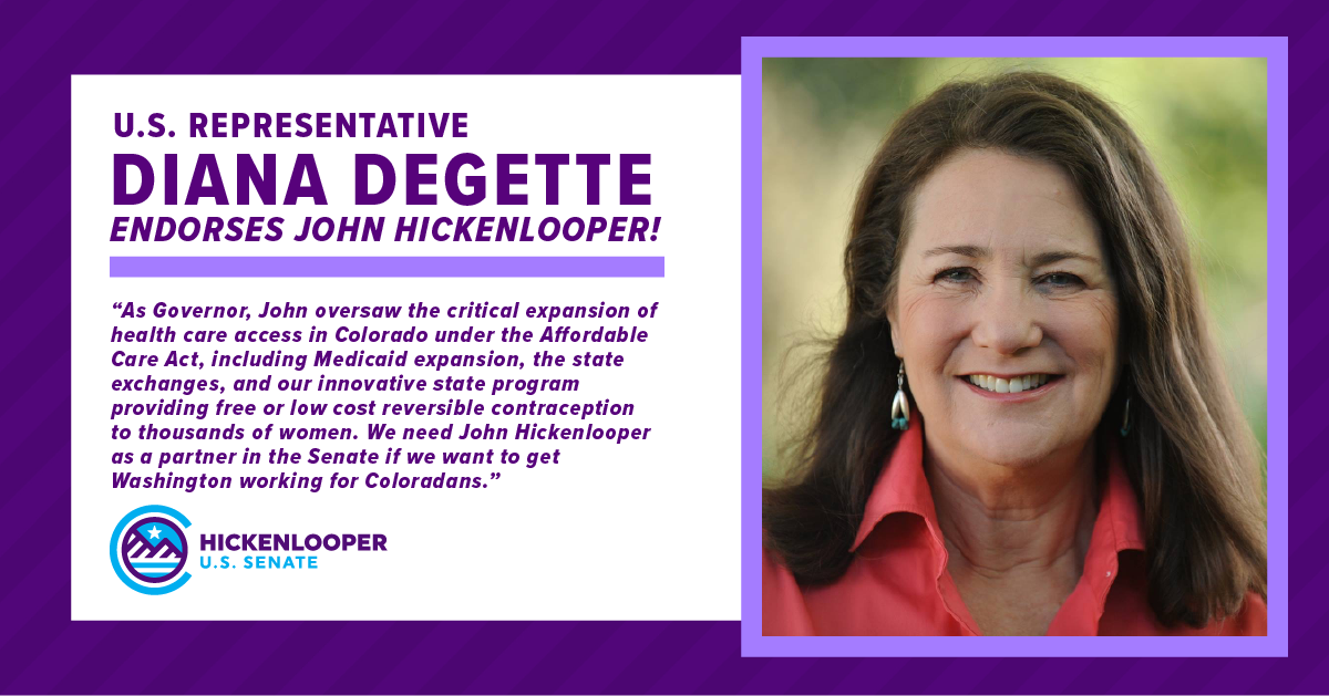 Congresswoman @DeGette5280 is a fierce champion in Congress on health care access and reproductive freedom, and I'm honored to have her endorsement in my race for U.S. Senate.