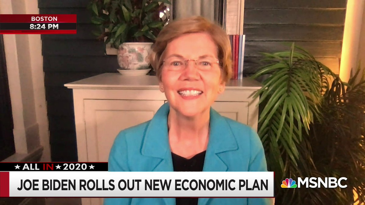 Live now on @MSNBC:  Sen. Warren discusses Joe Biden's new economic plan with @chrislhayes