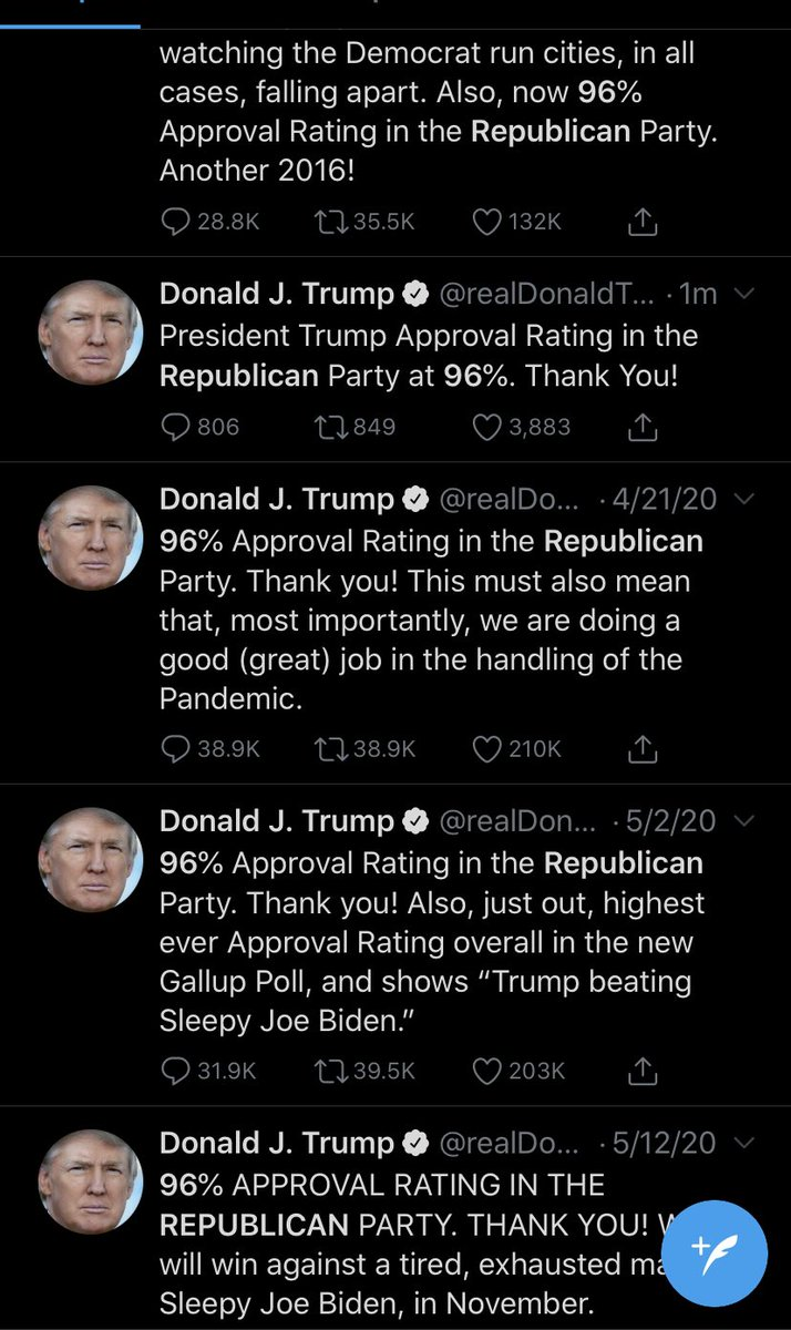 Trump repeatedly fabricates the same polling number to inflate his popularity and nobody cares because we've accepted that he's a shameless liar