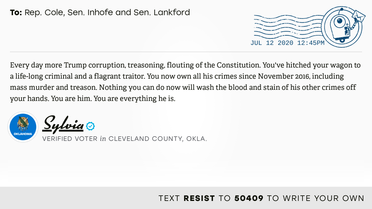 📬 I delivered this ✉️ from @sdbees1953 to @TomColeOK04, @JimInhofe and @SenatorLankford #OK04 #OKpolitics #OKpol  📝 Write your own: