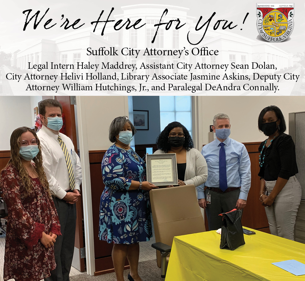 Pictured from left to right: Legal Intern Haley Maddrey, Assistant City Attorney Sean Dolan, City Attorney Helivi Holland, Library Associate Jasmine Askins, Deputy City Attorney William Hutchings, Jr., and Paralegal DeAndra Connally.