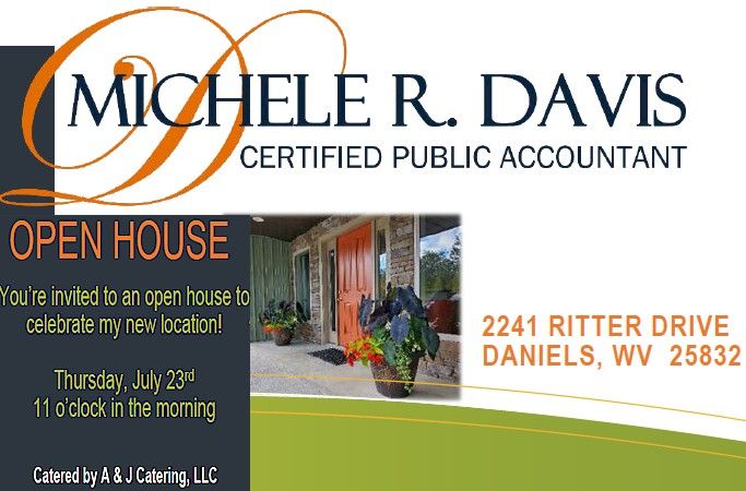We are excited to join Michele R. Davis, CPA tomorrow Thu July 23 11am as they celebrate Grand Opening of their new location 2241 Ritter Dr Daniels WV, Catered by A&J Catering Please #wearamask when attending this event. #beckleywv #chamberofcommerce #grandopening #ribboncutting
