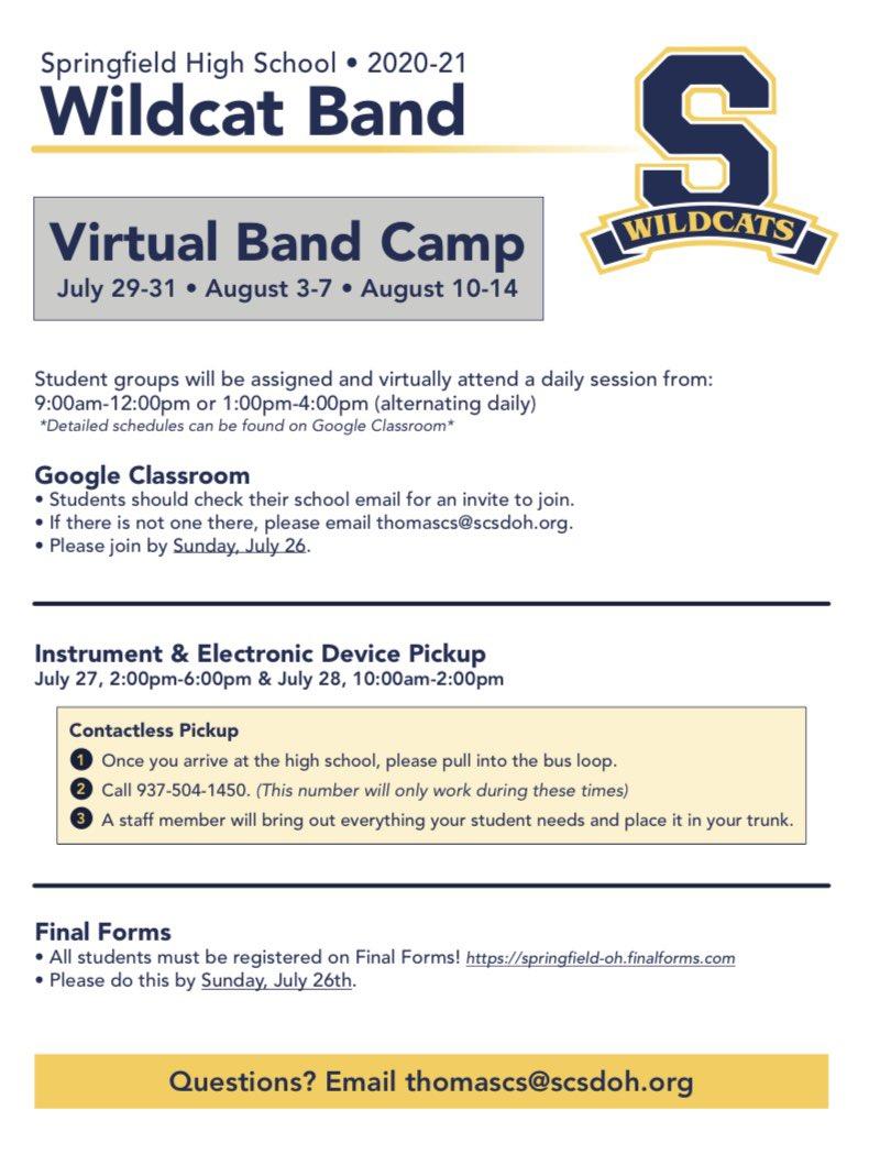 VIRTUAL BAND CAMP INFORMATION  SHS STUDENTS ENTERING GRADES 9-12
