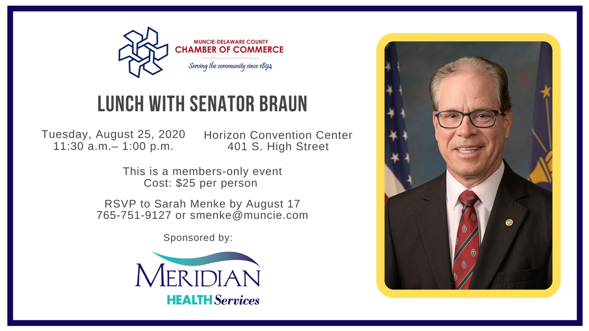 Join us for Lunch with Senator Braun on Tuesday, August 25. RSVP by Monday, August 17.