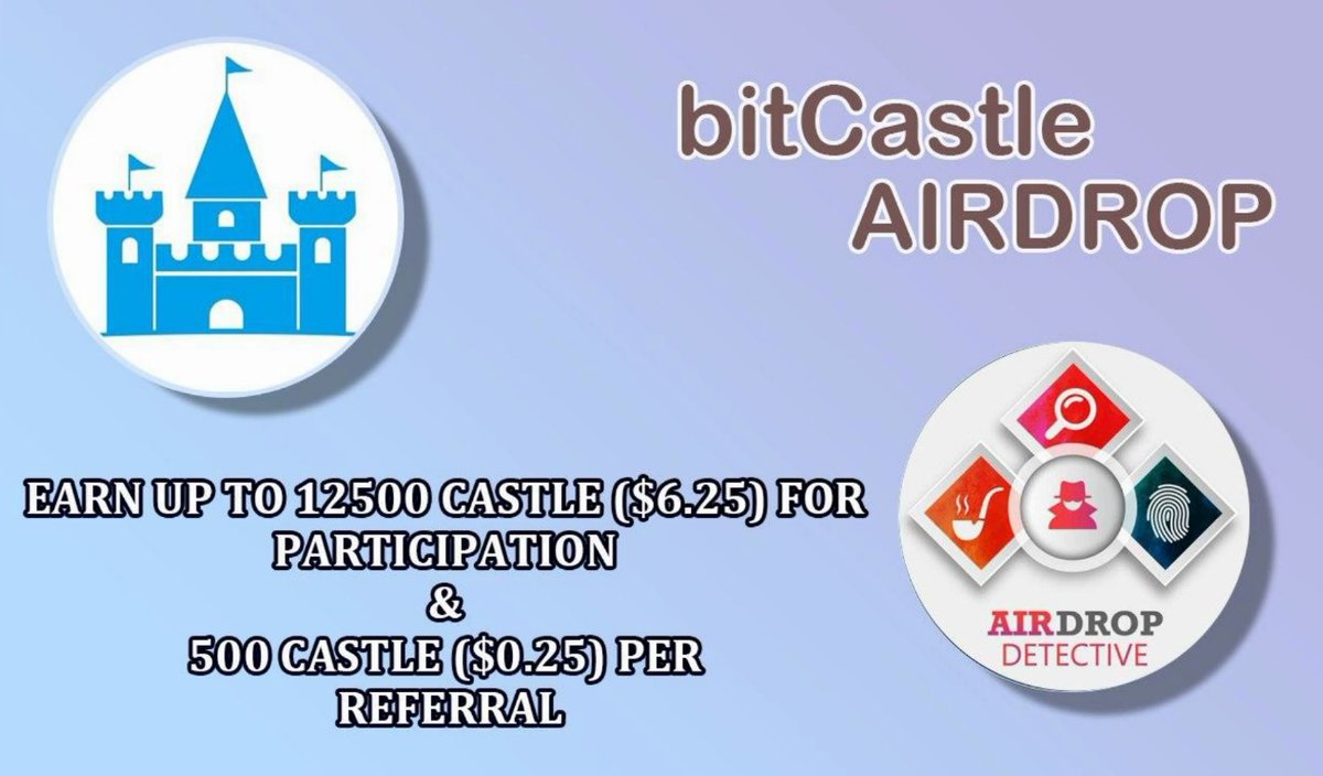 🔍 New #Airdrop: bitCastle  💲 Total reward: Up to 12500 CASTLE [$6.25] + 500 CASTLE per referral  🔴 Start the airdrop bot:   🔘 Do the tasks on the bot and submit your data.  🔘 Details:   #Airdrops #bitCastle #CASTLE #Crypto