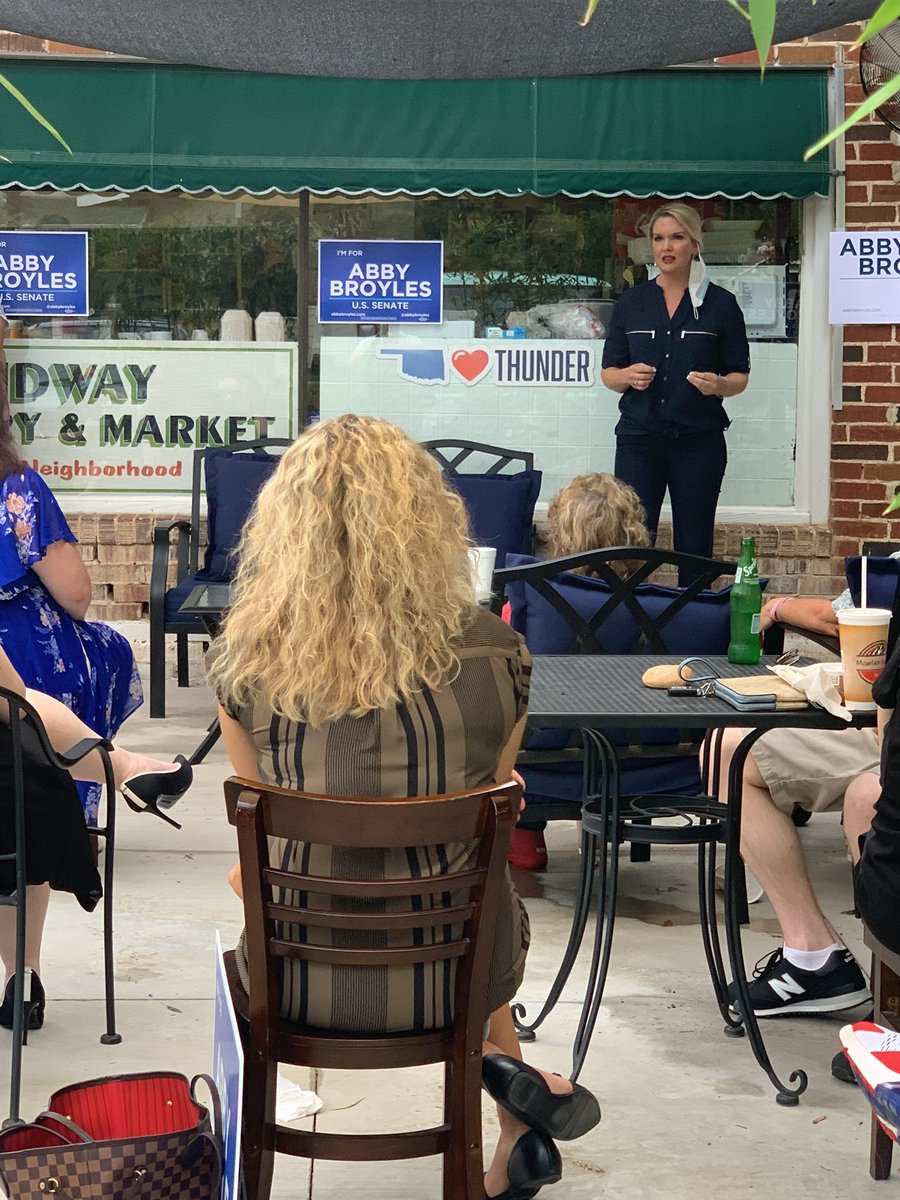 I had a great time back out on the campaign trail at the Midway Deli in Norman tonight. We talked about the issues that matter to them the most and got fired up for change for Oklahoma in November! #VoteForAbby