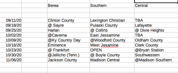 HIGH SCHOOL FOOTBALL THIS IS NOT OFFICIAL .... but from the best information I can put together at this point ... this is the composite schedule for Madison County teams @berea_football @MCentralFB @MadSouth_FB