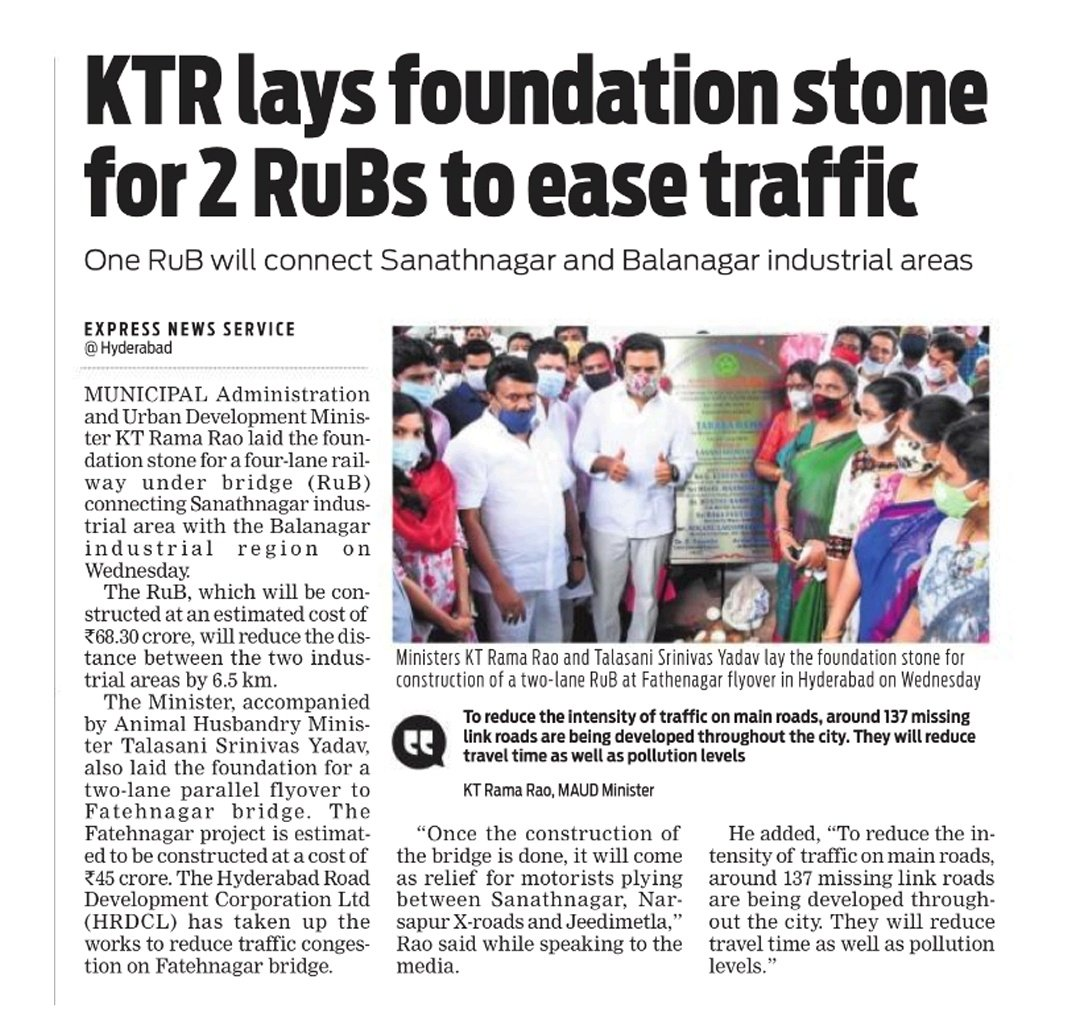 Hon'ble Min. MA&UD @KTRTRS laid the foundation stone for one RUB and one ROB yday: 1. 4-lane RUB connecting Sanathnagar Industrial Area to Balanagar Industrial Area, reducing the distance by ~6.5kms 2. 2-lane ROB as expansion of carriageway at Fatehnagar flyover @arvindkumar_ias