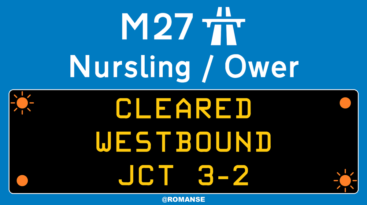 #M27 Westbound - RTI CLEARED between J3/#M271 and J2/#A36 #Ower, heavy delays remain on approach.