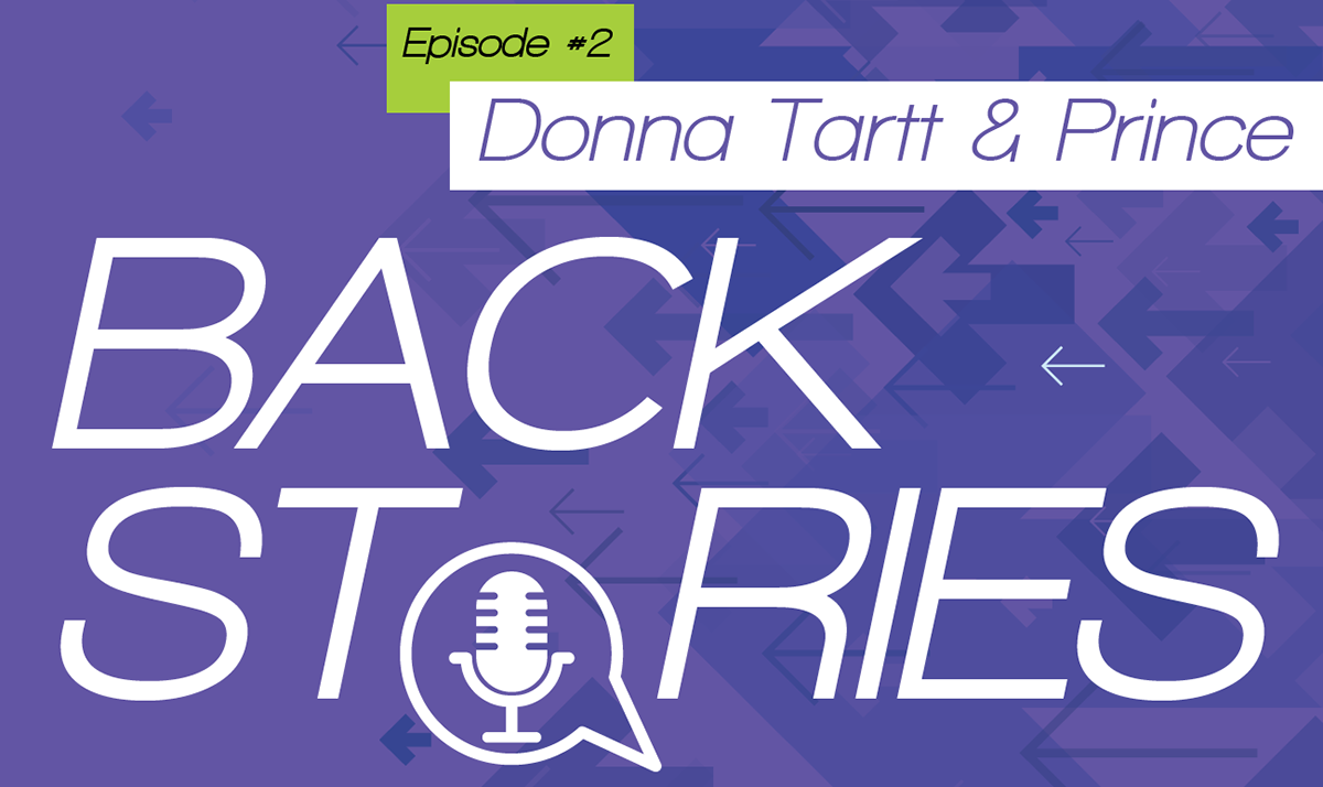 """The JCPL podcast """"Back Stories"""" episode II is now available. This time librarians Amy & Davin dish the backstories on author Donna Tartt and musician Prince.  Listen on Spotify, Google Podcasts or at this link:"""