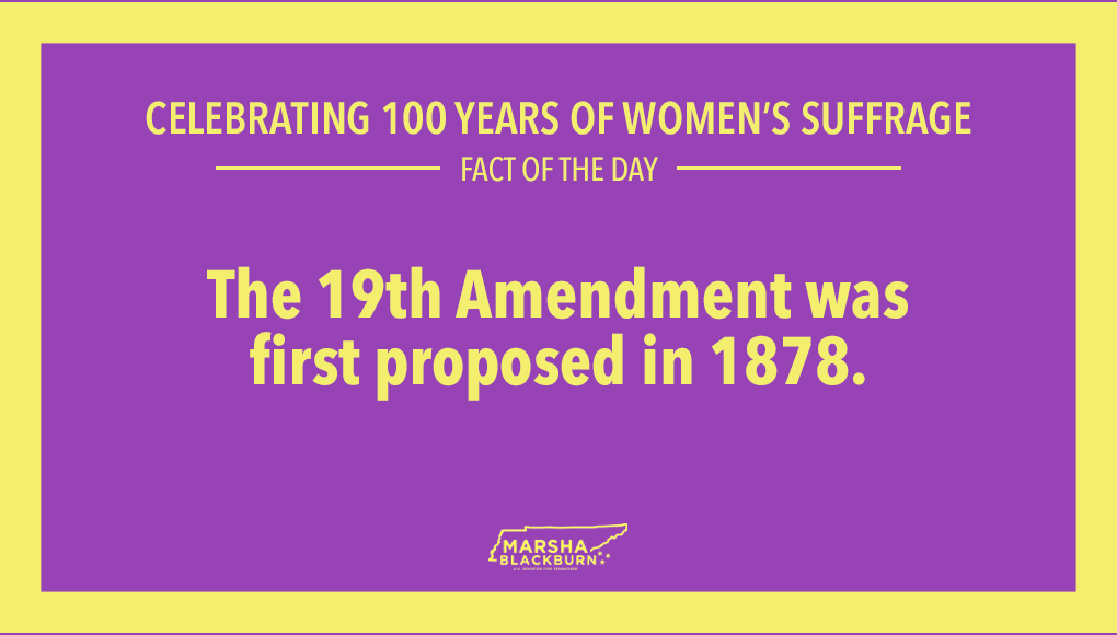 I'm sharing 19 suffrage facts each day until the 100th anniversary of our 19th Amendment's ratification—starting now! #100YearsofWomensSuffrage