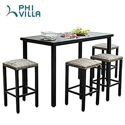 PHI VILLA 5PCS Patio Bar Dining Set, Metal Desktop Outdoor Table with 4...